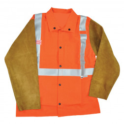 Class II FR Welding Jacket with Leather Sleeves - 7 oz