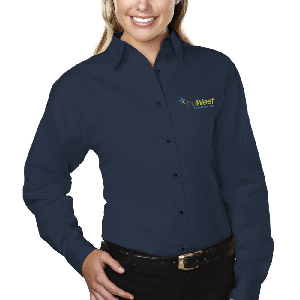 fecf6e787f9 Ladies 60 40 Stain Resistant Long Sleeve Twill Shirt - Back Office Staff