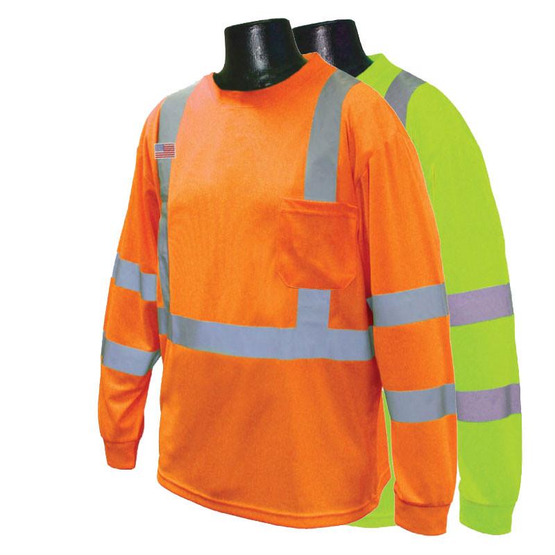Moisture wicking class iii long sleeve t shirt with 50 for Custom sun protection shirts