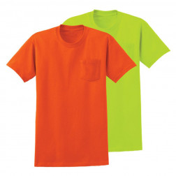 Usa made 100% cotton  hydrowick poly Enhanced visibility tee w/ pocket