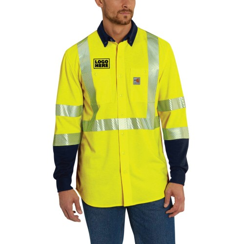 Carhartt Flame-Resistant High-Visibility Force Hybrid Shirt-Class 3